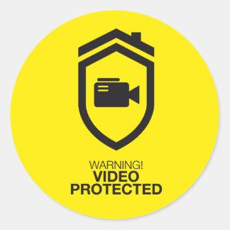 Warning! Video Protected Runder Aufkleber