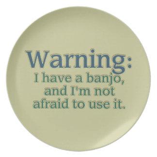Warnung: Ich habe ein Banjo…. Melaminteller