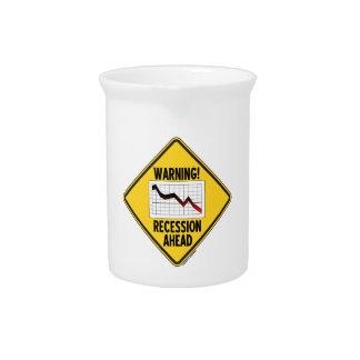 Warnung! Rezession voran (gelbes Diamant-Zeichen) Krug