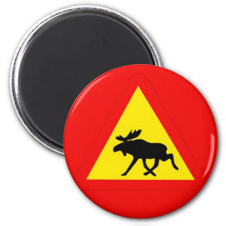 Warnung vor dem Elch Runder Magnet 5,7 Cm