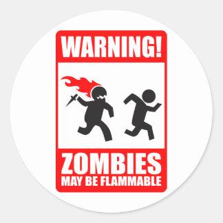 Warnung! Zombies können brennbarer Aufkleber sein