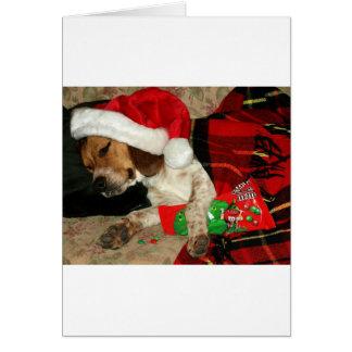 Wartete Beagle-Hundeweihnachten Sankt Snoopy Karte