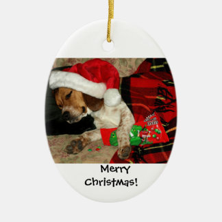 Wartete Sankt/Snoopy Beagle-Hundeweihnachten Keramik Ornament