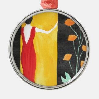 Wartete Sie Rundes Silberfarbenes Ornament