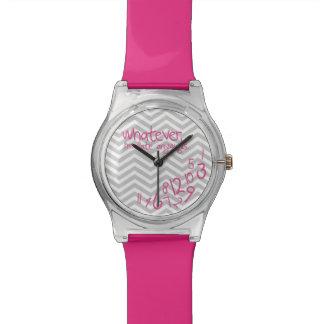Was auch immer ich irgendwie spät sind - Rosa mit Uhren