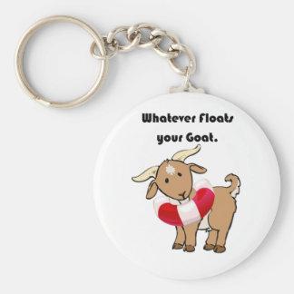 Was auch immer Ihren Ziegen-Schwimmweste-Cartoon Schlüsselanhänger