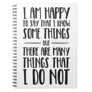 Was ich weiß - inspirierend Zitat Spiral Notizblock