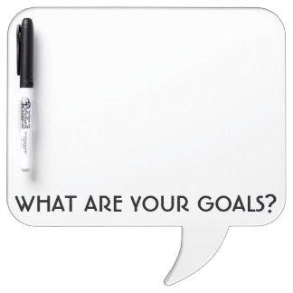 Was sind Ihre Ziele? Quadratische Sprache-Blase Trockenlöschtafel