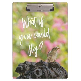 Was, wenn Sie fliegen konnten? Vogel-Brunnen Klemmbrett