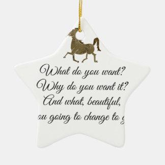 Was wollen Sie Unicorn? Keramik Stern-Ornament