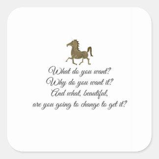 Was wollen Sie Unicorn? Quadratischer Aufkleber