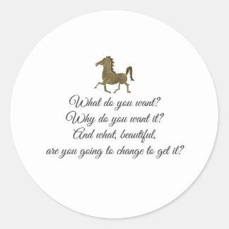 Was wollen Sie Unicorn? Runder Aufkleber