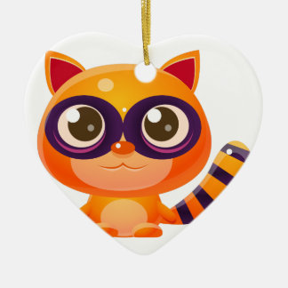 Waschbär-Baby-Tier in der Girly süßen Art Keramik Herz-Ornament