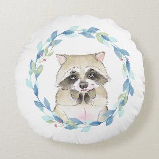 Waschbär und BlumenKranz Rundes Kissen