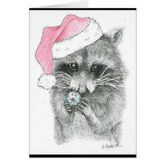 Waschbär-Weihnachten Karte