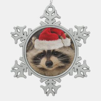 Waschbärsankt-Verzierung Schneeflocken Zinn-Ornament
