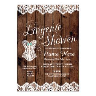 Wäsche-Duschen-Brautparty-Korsett-Spitze laden ein 12,7 X 17,8 Cm Einladungskarte