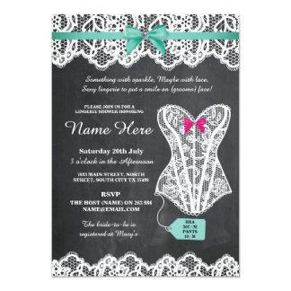 Wäsche-Duschen-Brautparty-Kreide-Spitze laden ein 12,7 X 17,8 Cm Einladungskarte