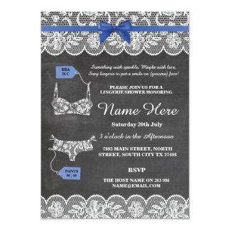 Wäsche-Duschen-Brautparty-laden blaue Bogen-Spitze 12,7 X 17,8 Cm Einladungskarte