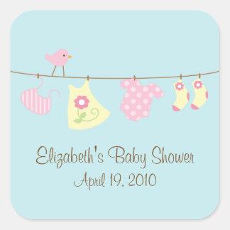 Wäscheleine-Baby-Babyparty-Aufkleber Quadratischer Aufkleber