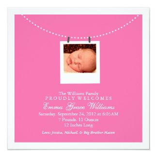 Wäscheleine-Geburts-Mitteilung Quadratische 13,3 Cm Einladungskarte
