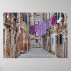 Wäscheleine in Venedig Italien Poster