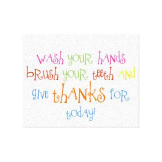 Waschen Sie Ihre Hände geben Dank-Badezimmer-Druck Leinwand Drucke