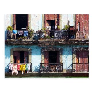 Wäscherei auf Balkonen, Paseo Del Prado, Kuba Postkarte