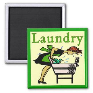 Wäscherei-Dame Quadratischer Magnet