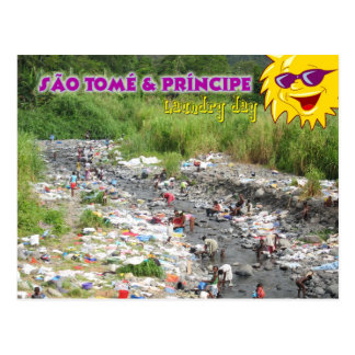 Wäscherei-Tag in Sao Tome und Principe, Afrika Postkarte