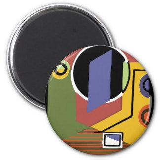 Waschmaschine in abstraktem runder magnet 5,7 cm