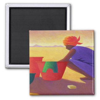 Waschmaschinen-Frau 1999 Quadratischer Magnet