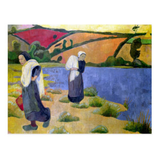 Washerwomen in dem Laita Fluss nahe Pouldu Postkarte