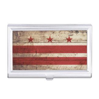 Washington DC-Flagge auf altem hölzernem Korn Visitenkarten Etui
