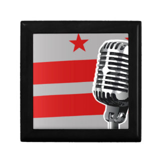 Washington DC-Flagge und Mikrofon Geschenkbox