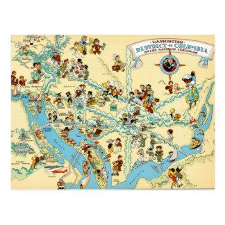 Washington, DC.  Lustiges VintageMap Postkarte
