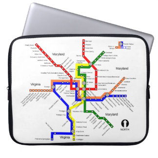 Washington DC-Metro-Karten-Laptop-Hülse Laptop Sleeve