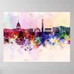 Washington DC skyline im Watercolor background Posterdruck