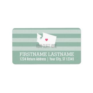 Washington-Karten-Zuhause-Staats-Liebe mit Adressaufkleber