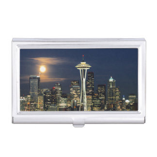 Washington, Seattle, Skyline nachts von Kerry 1 Visitenkarten Etui