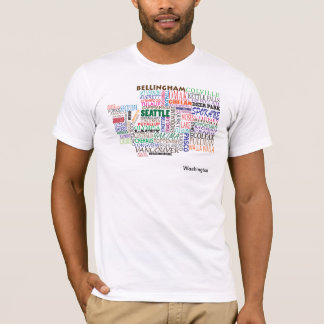 Washington-Staats-Stadt-Karte T-Shirt