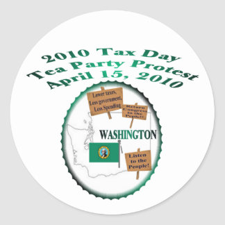 Washington-Steuer-Tagestee-Party-Protest Runder Aufkleber