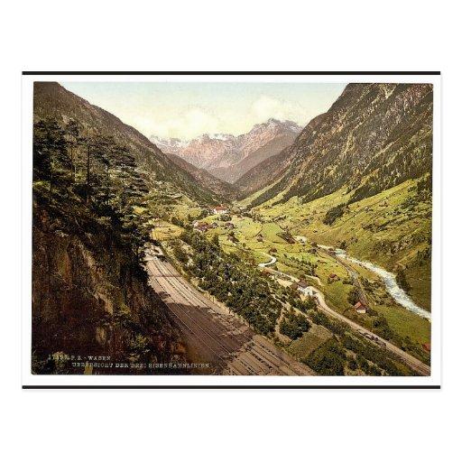 Wassen, Ansicht der drei Bahnen, St. Gotthard Rai Postkarten