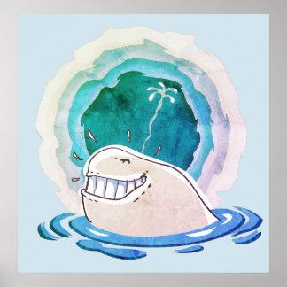 Wasser des weißen Wals, das lustigen Cartoon Poster