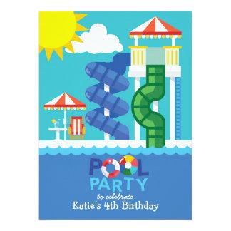 Wasser-Dia-Pool-Party-Geburtstags-Einladung Karte