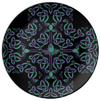 Wasser-Drache-keltisches Kreuz Teller