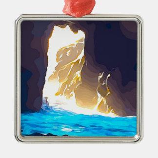 Wasser durch Felsen Carmel Quadratisches Silberfarbenes Ornament