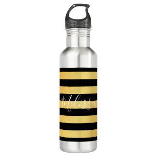 Wasser-Flasche - Confetti Stripes schwarzen Namen Trinkflasche
