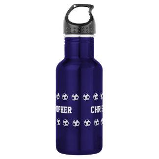 Wasser-Flasche, personalisiert, Fußball, blau Trinkflaschen