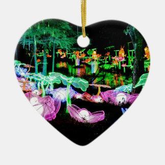 Wasser-Lilie leuchten Nachtphotographie Keramik Herz-Ornament